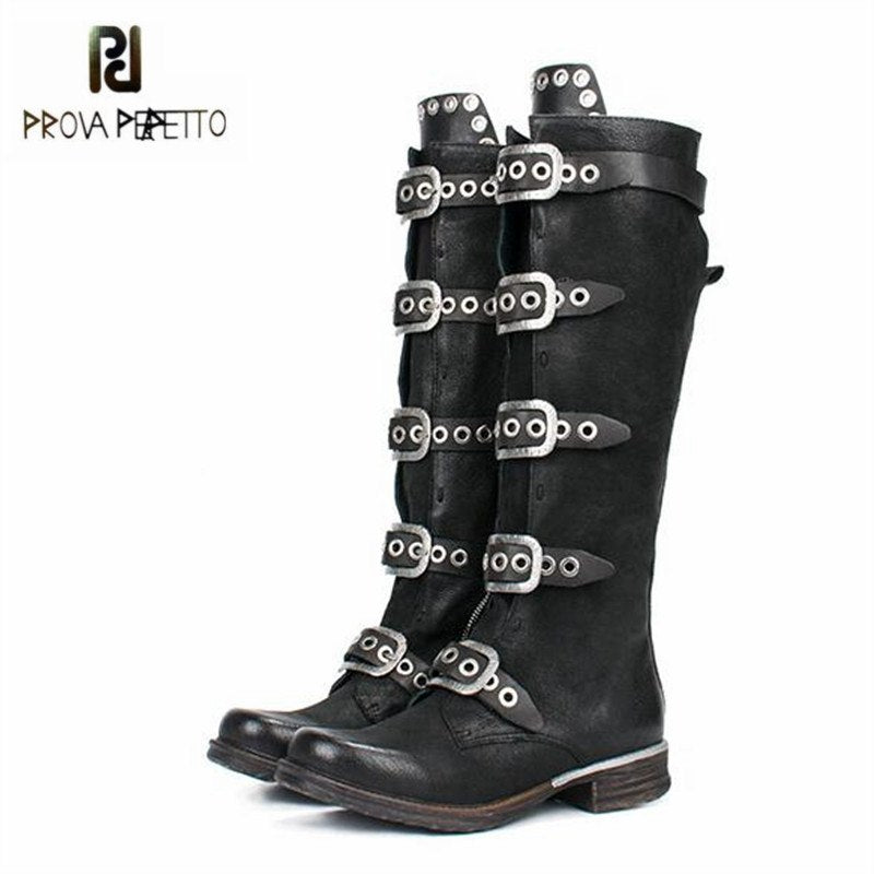 Prova Perfetto 2018 New Black Women Knee High Boots Genuine Leather Straps High Boots Female Platform Rubber Flat Martin Boot