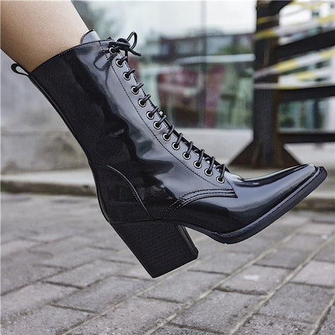 Prova Perfetto 2018 New Style Women Mid Boots Lace-up Chunky Heels Shoes Woman Fashion Patent Leather Pointed Toe Chelsea Boots