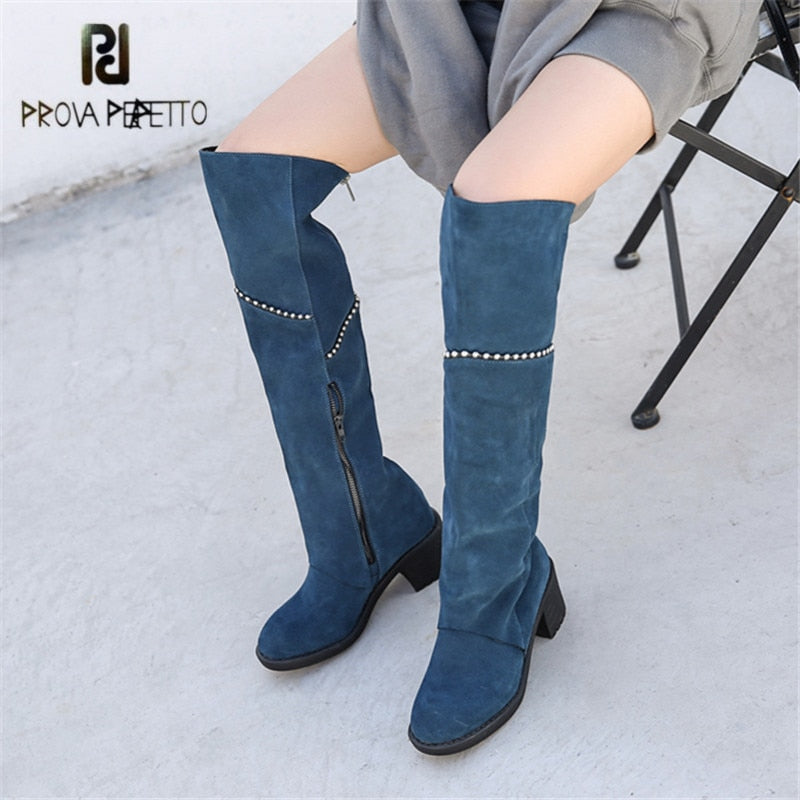 9ef6cd310a ... Women Thigh High Boots Chains Decor Over the Knee Boots Chunky. Hover  to zoom