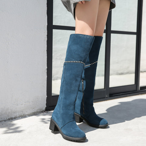 Prova Perfetto 2018 New Suede Women Thigh High Boots Chains Decor Over the Knee Boots Chunky High Heel Bota Feminina Knight Boot