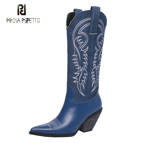 Prova Perfetto 2018 new cowboy boots women pointed toe chunky hight heel knight boots embroider retro style lady knee high boots