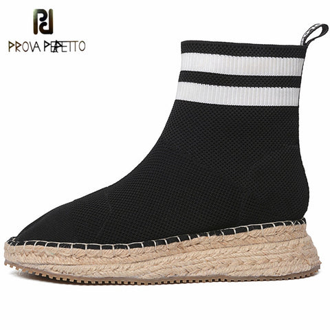 Prova Perfetto Brand Design Knitted Stretch Fabric Sewing Boots Women Round Toe Platform Sock Boots Women Wedges Leisure Shoes