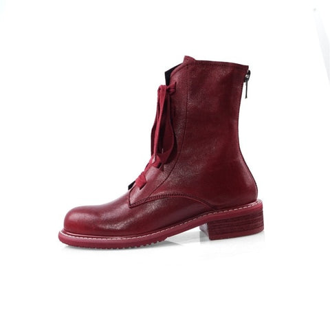 Image of Prova Perfetto Brand Design Women Boots Genuine Leather Short Boots Women Leisure Fashion Runway Show Women Shoes Winter Boots