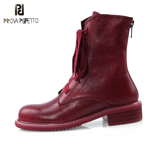 Prova Perfetto Brand Design Women Boots Genuine Leather Short Boots Women Leisure Fashion Runway Show Women Shoes Winter Boots