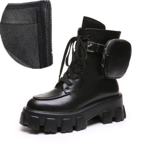 Image of Prova Perfetto British Style Women's Boots High-top Leather Boots Army Boots Muffin Thick Bottom Trend Pocket Martin Short Boots