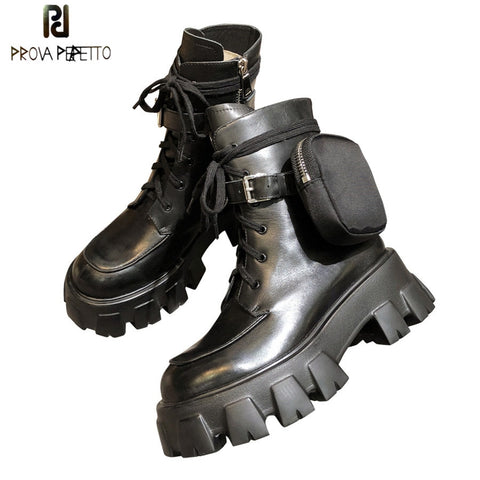 Prova Perfetto British Style Women's Boots High-top Leather Boots Army Boots Muffin Thick Bottom Trend Pocket Martin Short Boots