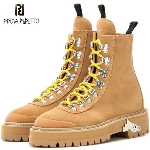 Prova Perfetto Fashion Short Boots Lovers Shoe Laces Low Heels Ankle Boots For Women Round Toe Shoes Hard Outsole Military Boots
