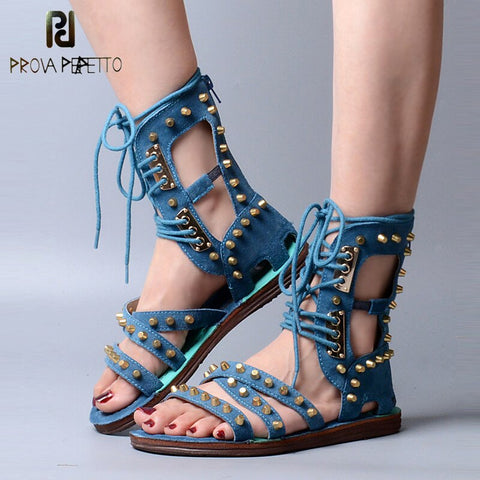 Image of Prova Perfetto Fashion Suede Leather Women Gladiator Sandal Front Cross Tied Back Zipper Summer Boots Rivets Studded Flat Sandal