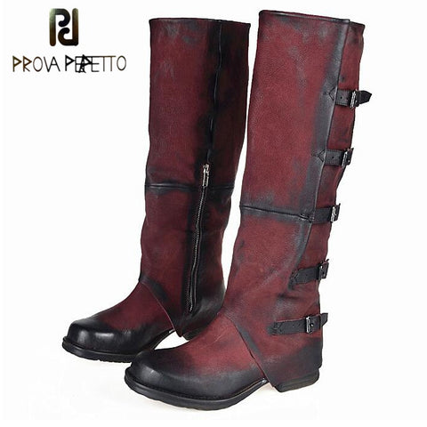 Prova Perfetto Fashion Women Shoes Handmade Military Cowboy Boots Knee High Genuine Leather Motorcycle Boots Buckle Flats Shoes