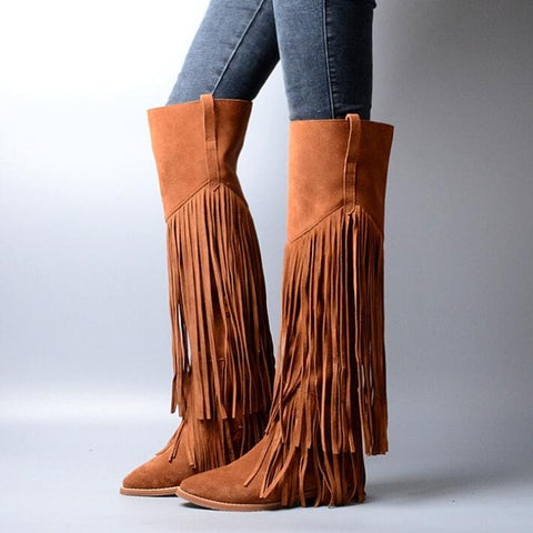 Image of Prova Perfetto Full Tassels Women Thigh High Boots Pointed Toe Fringed Suede Over the Knee Boots Autumn Winter Flat Knight Boot