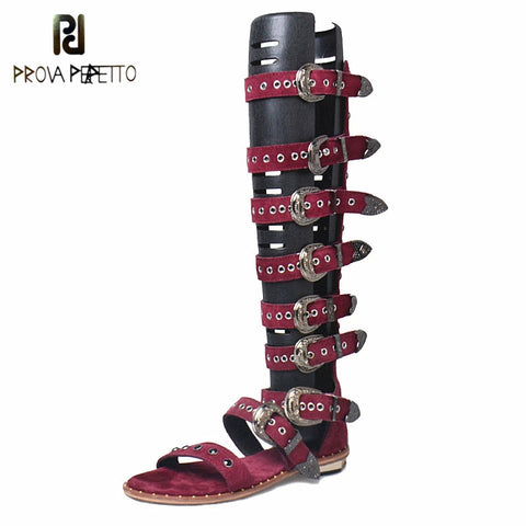 Image of Prova Perfetto Gladiator Over Knee High Heel Boots Sandals Woman Real Leather Buckle Rivet Flat Women Sandals Punk Style Shoe
