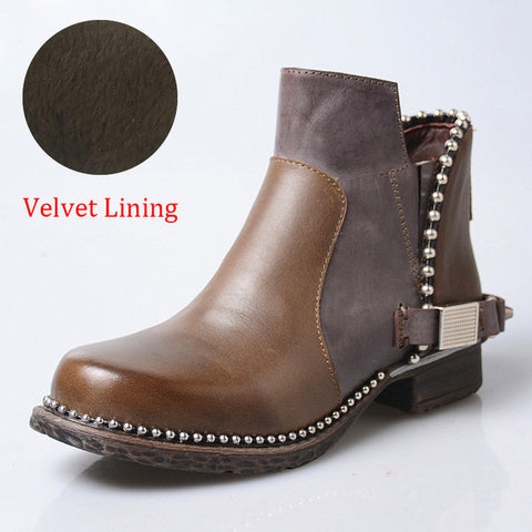 Image of Prova Perfetto Handmade Women Ankle Boots Red Chelsea Boot Chains Decor Platform Rubber Shoes Woman Riding Boots Short Booties