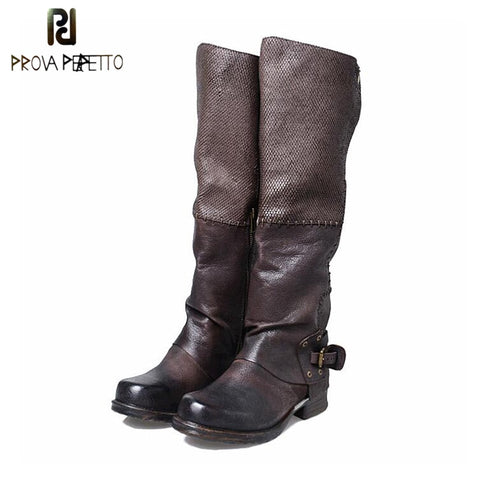 Prova Perfetto Leather High Quality Knee High Boots For Women Match Color Winter Belt Buckle Side Zipper Long Bota Riding Boots