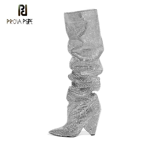 Prova Perfetto Luxury Crystal Women Pointd Toe Knee High Boots Sexy Chunky Heel Boots Slip On Ladies Nightclub Rhinestone Boots