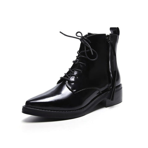 Prova Perfetto New Arrival England Style Concise Patent Leather Lace up Ankle Boot Cool Cross-tied Point Toe Low Heel Rome Boots