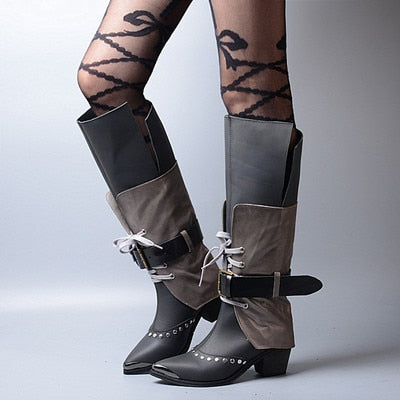 Prova Perfetto New Arrive Top Grade Euramerican Thick Heels Shoes Rivet Buckle Metal Point Toe Comfortable Knee High Boots