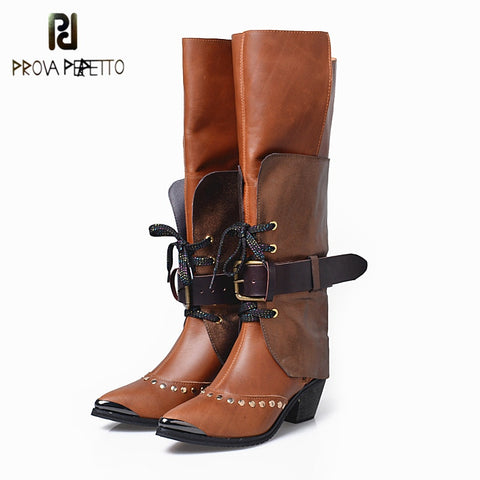 Image of Prova Perfetto New Arrive Top Grade Euramerican Thick Heels Shoes Rivet Buckle Metal Point Toe Comfortable Knee High Boots