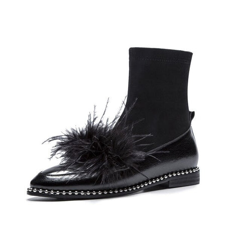 Image of Prova Perfetto New Fashion Rivet Feathers Embellished Low Heels Ankle Boots Shoes Woman Luxury Pointed Toe Gladiator Boots Women