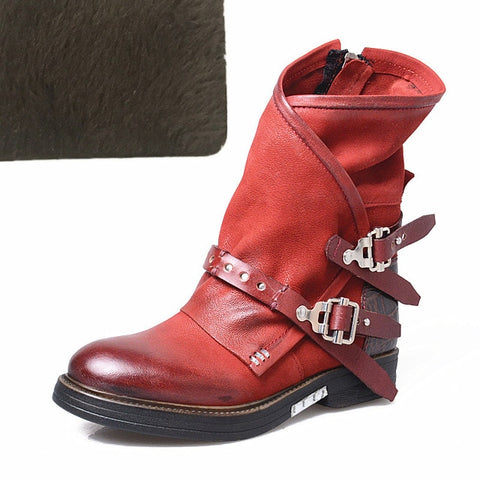 Prova Perfetto Original Woman Boots Patchwork Genuine Leather Mid-Calf Boots Women Low Heel Boots Botas Mujer Invierno