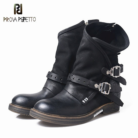 Image of Prova Perfetto Original Woman Boots Patchwork Genuine Leather Mid-Calf Boots Women Low Heel Boots Botas Mujer Invierno