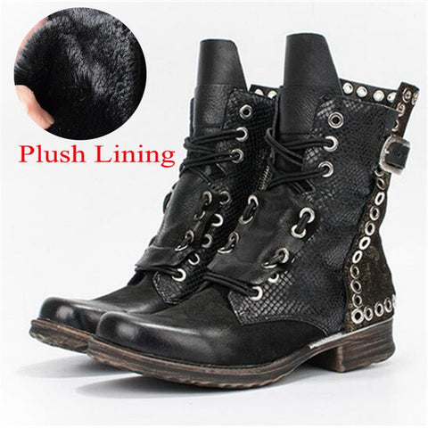 Prova Perfetto Patchwork Ankle Boots for Women Autumn Winter Flat Botas Mujer Female Rivets Studded Platform Rubber Shoes Woman