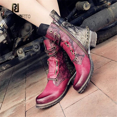 Image of Prova Perfetto Patchwork Ankle Boots for Women Autumn Winter Flat Botas Mujer Female Rivets Studded Platform Rubber Shoes Woman