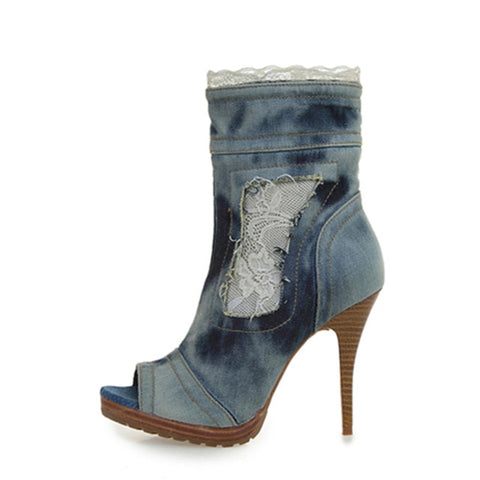 Image of Prova Perfetto Peep Toe Ankle Boots for Women High Heel Denim Boot Lace Jean Botas Mujer Women Platform Pumps Botte Femme