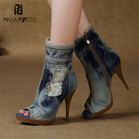 Prova Perfetto Peep Toe Ankle Boots for Women High Heel Denim Boot Lace Jean Botas Mujer Women Platform Pumps Botte Femme