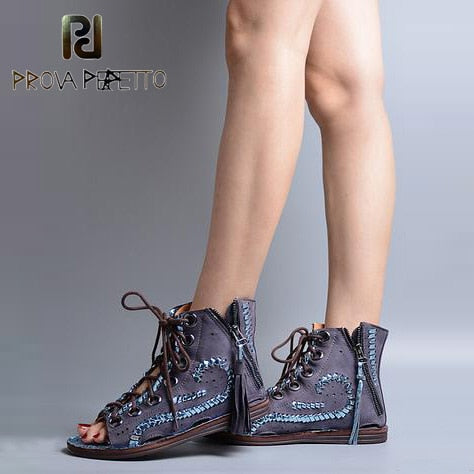 Image of Prova Perfetto Peep Toe Tassels Decoration Summer Boots Shoes Cross Tied Hollow Out Patchwork Muffin Shoes Women Falt Sandals