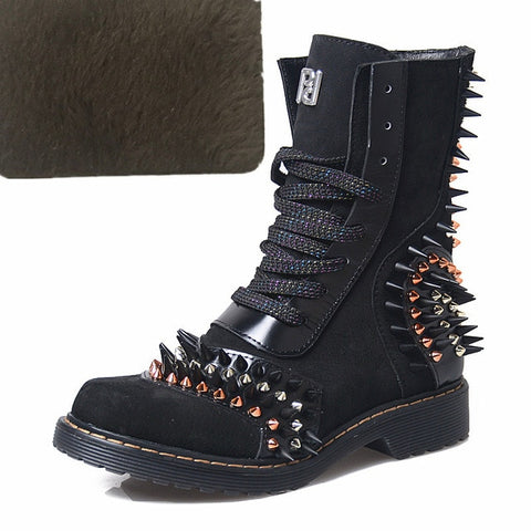 Image of Prova Perfetto Punk Style Woman Boots Genuine Leather Thick Bottom Mid Boots Rivet Decoration Round Toe Low Heel Platform Boots