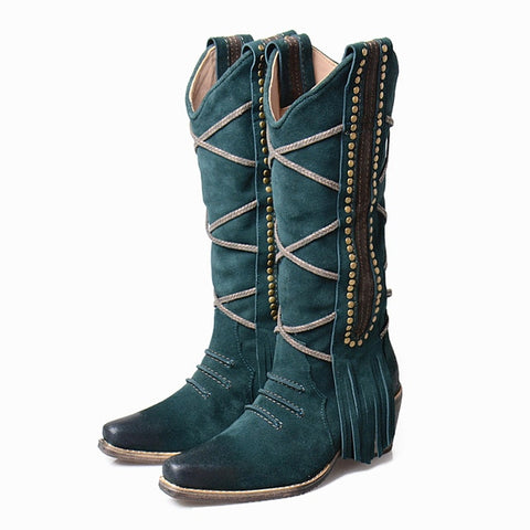 Image of Prova Perfetto Retro Style Fringes Women Knee High Boots Chunky High Heel Rivet Studded Decoration Slip On Knight Boots Shoes