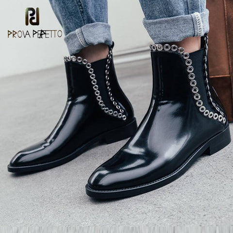 Prova Perfetto Rivet Thick Bottom Ankle Boots Female Flat Short Tube Chelsea Boots Motorcycle Boots 2019 New Martin Boots