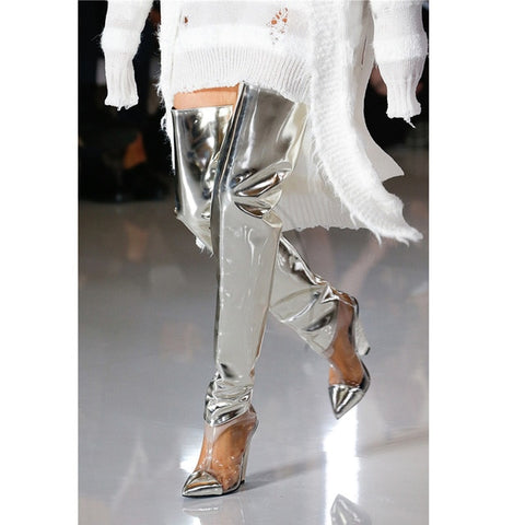 Image of Prova Perfetto Runway Shoes Silver PVC Clear Thigh High Boots Women Sexy Spike Wedge High heels Party Shoes Fashion Botas Mujer