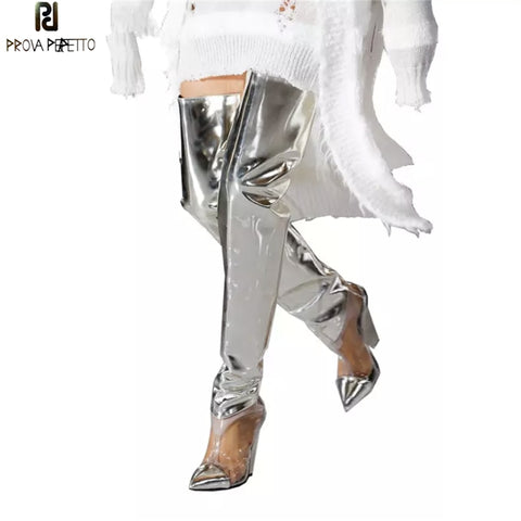 Prova Perfetto Runway Shoes Silver PVC Clear Thigh High Boots Women Sexy Spike Wedge High heels Party Shoes Fashion Botas Mujer