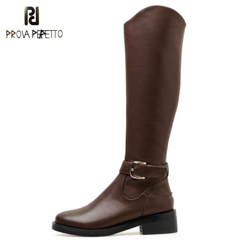 Prova Perfetto Russia Genuine Leather Boots Fur Fashion Knee High Boot Women Warm Natural Wool Boots Round Toe Winter Snow Boots