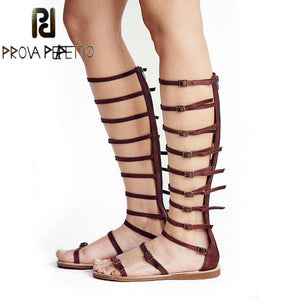 Prova Perfetto Sexy Women Buckle Bandage Gladiator Sandal Peep Toe Back Zipper Knee High Ladies Boots Flat Roman Shoes