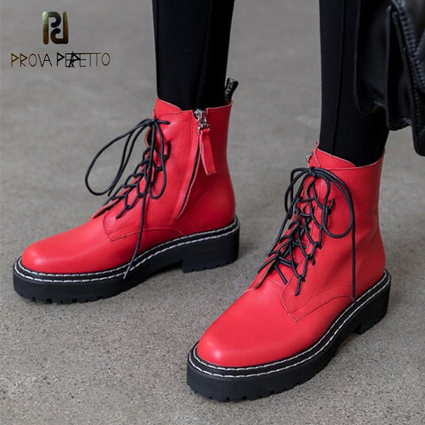 Image of Prova Perfetto Steampunk Gothic Women Boots Vintage Style Retro Punk Buckle Military Combat Winter Boots Women Botas Mujer 2019