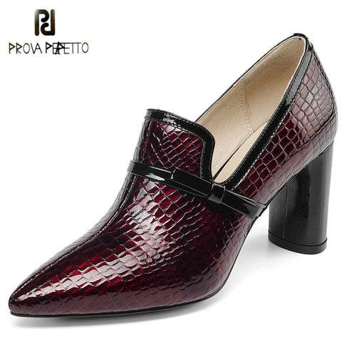 Prova Perfetto Top Quality High Heels Genuine Leather Pointed Toe Party Shoes Woman Slip On Spring Summer Office Pumps Shoes New