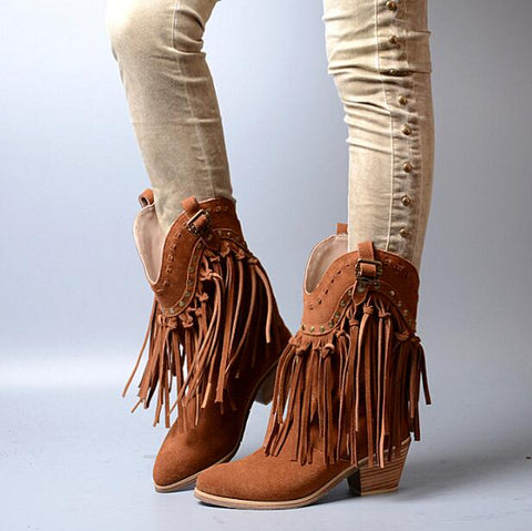 Prova Perfetto Women Chunky High Heel Boots Suede Fringed Slip On Women Platform Pumps Full Tassels Buckle Autumn Winter Botas