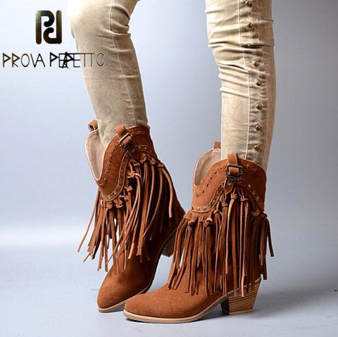 Image of Prova Perfetto Women Chunky High Heel Boots Suede Fringed Slip On Women Platform Pumps Full Tassels Buckle Autumn Winter Botas