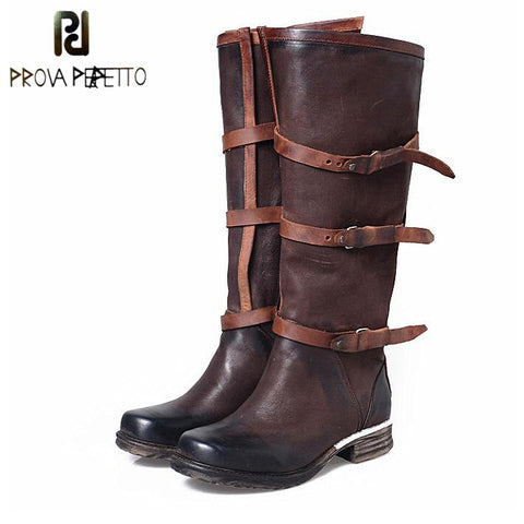Image of Prova Perfetto Women Genuine Leather Belt Buckle Knee High Boots Fashion Square Toe Long Boots Flat Comfortable Knight Boots