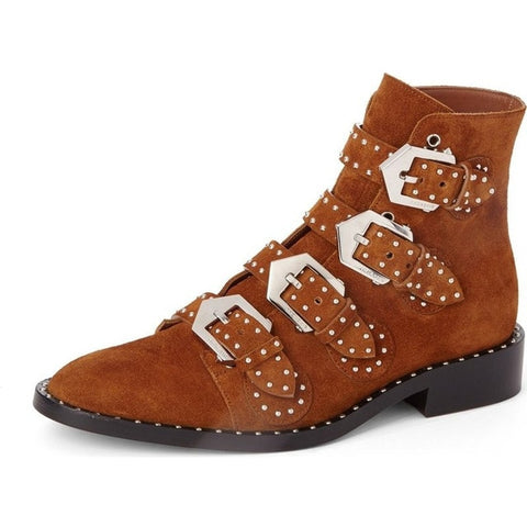Prova Perfetto Women Genuine Leather Boots Pointed Toe Brogue Buckle Ankle Boots Rivet Fashion Chelsea Low Heels Ladies Booties
