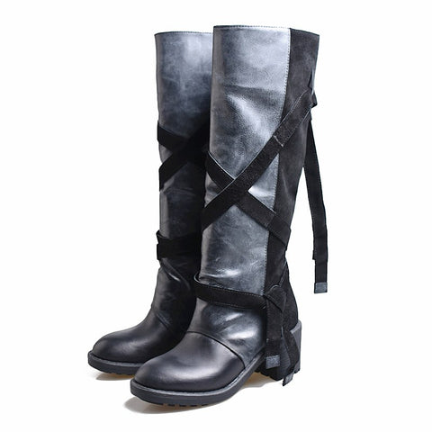 Prova Perfetto Women Knee High Boots Straps Platform Rubber Shoes Woman Chunky High Heel Long Botas Mujer Handmade Martin Boot