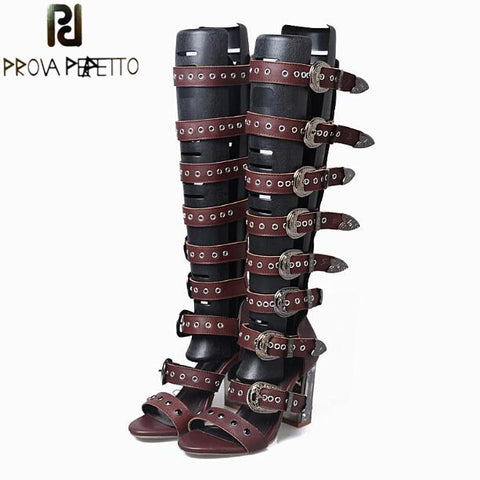 Image of Prova Perfetto Women Summer Boots Sandal Rivets Buckle Belt Open Toe Sexy Gladiator Sandal Clear Crystal High Heel Knee Boots