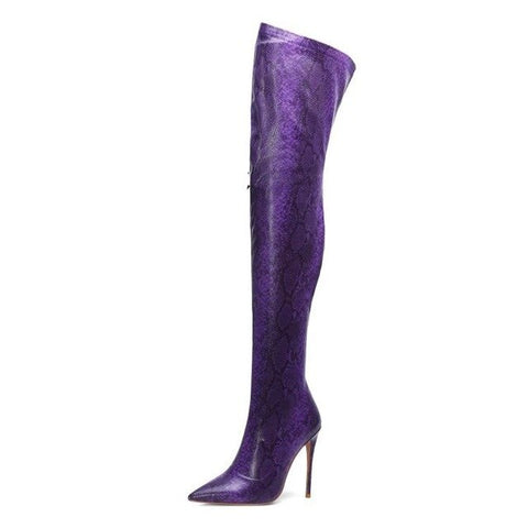 Image of Prova Perfetto Women Thigh High Boots Snakeskin Printed Over The Knee Boots Sexy Pointed Toe High Heels Shoes Woman Botas Mujer