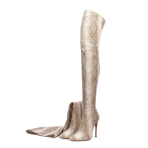 Prova Perfetto Women Thigh High Boots Snakeskin Printed Over The Knee Boots Sexy Pointed Toe High Heels Shoes Woman Botas Mujer