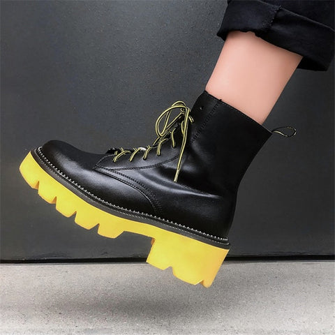 Image of Prova Perfetto Women's Female Ankle Boots Flat Shoes Winter Genuine Leather Lace Up Shoes Punk Plus Riding Botines Mujer 2019