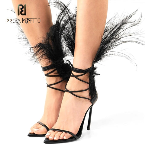 Prova Perfetto fashion runway feather gladiator sandal women narrow band one strap cross tied summer shoes sandals stilettos
