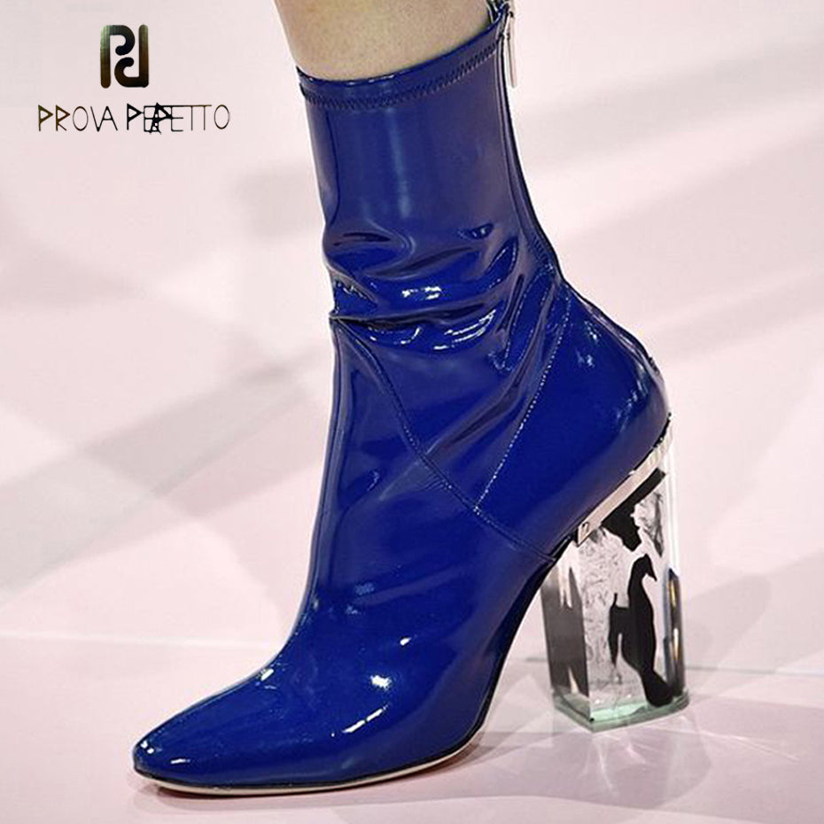 ab134ebc988 Prova Perfetto fashion women ankle boots square toe transparent crystal  high heel chic boots patent leather females short boots