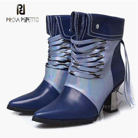 Image of Prova Perfetto genuine leather patchwork ankle boots for women winter shoes narrow band strange heel tassel chelsea short boots